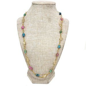 Wire Wrapped Multi Color Natural Stone Necklace